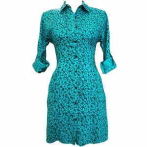 Reformed Button Front Midi Green Black Dress XS